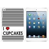 I Love Heart Cupcakes Schutzhülle zum Aufstecken für Apple iPad Mini 1st Gen - Weiß