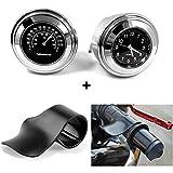Misika Universal Alu Motorrad Lenkeruhr und Thermometer+Motorräder Gasgriff Hilfe Schwarz