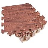 Tebery 16 Stks In elkaar grijpende EVA Foam Matten Licht & Donker Houten Floor Effect Gym Play Home Workout Zachte Tegels Mat 10mm (30.5x30.5cm) (Donker Hout)