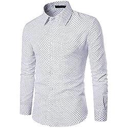 Camisa para Hombre AIMEE7 Camisas Hombre Manga Larga Casual,Camisas Hombre Lunares