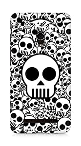 Amez designer printed 3d premium high quality back case cover for Asus Zenfone 5 (Skull texture black white surface)