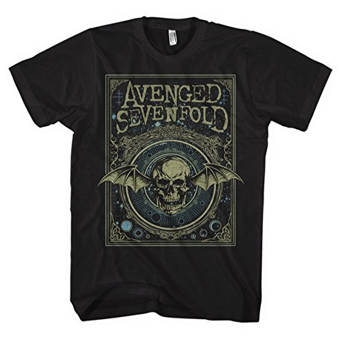 Avenged sevenfold t-shirt ornate deathbat da uomo in nero