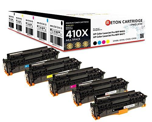 Original Reton Toner mit 25% mehr Leistung, kompatibel, 5er Farbset CF410X CF411X CF412X CF413X für HP Color Laserjet Pro MFP M477fdw M477fdn M477fn M477fnw M452dn M452nw Pro MFP M377dw -