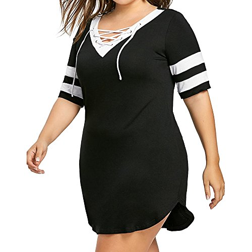BHYDRY Frauen Plus Größe Patchwork Kreuzgurt V-Ausschnitt Kurzarm Split Minikleid(XXXXX-Large,Schwarz)