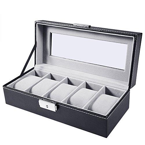 MelodySusie Uhrenbox Uhrenkoffer Uhrenkasten Kunstleder für 5 Uhren Schwarz PU-Leder mit Glasfenster und Schlüssel
