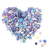Stern Konfetti Holografische Sterne Glitter Konfetti für Weihnachtsdekoration, Hochzeitsfeier und Nagel Kunst, Mehrfarbig, 1/ 4 Zoll