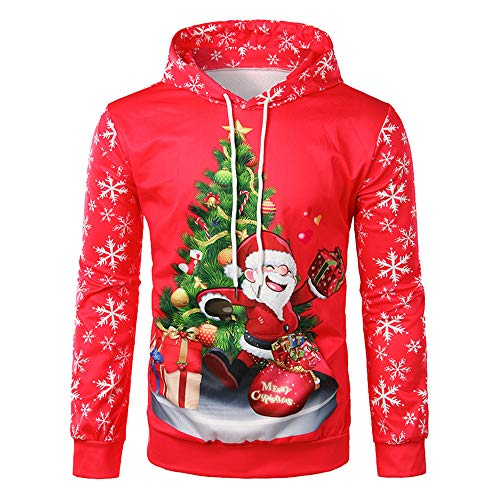 (QSEVEN Weihnachten Herren Top Plus Size Hoodie Santa Print Pullover Hooded Sweatshirt Geschenk für Männer)