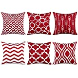 Topfinel Wine Cushion Cover Canvas Decorative Square Throw Pillow Cases for Sofa Bedroom 18 x 18 Inch, with Invisible Zipper 45cm x 45cm,Set of 6