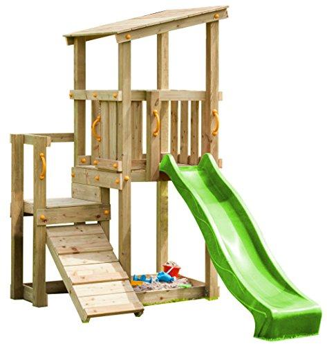 Blue Rabbit 2.0 Spielturm CASCADE mit Rutsche 2,30 m + Kletterrampe Spielhaus Kletterturm Spielplatz Kiefer MASSIVHOLZ imprägniert (Grün)