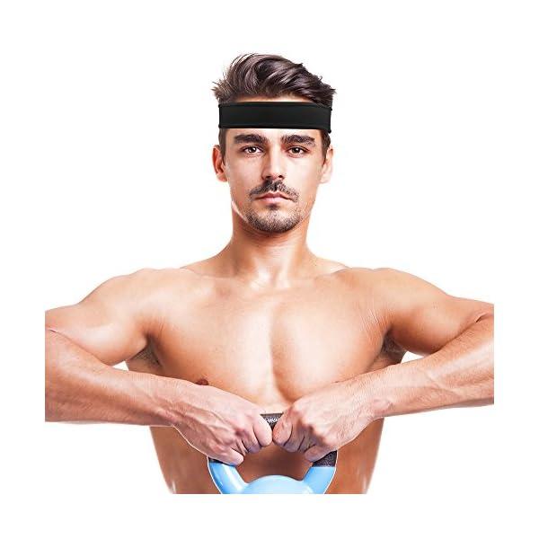 IPOW 2 pz Headband Fasce da Corsa Fascia Capelli Uomo Fascia antisudore Testa Antisscivolo e e Antisudore Traspirante… 5 spesavip