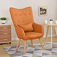 WarmieHomy Modern Occasional Chair Buttoned Linen Fabric Tub Chair Armchair  For Bedroom Living Room Office Lounge