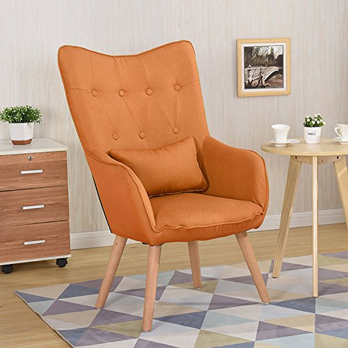 WarmieHomy Modern Occasional Chair Buttoned Linen Fabric Tub Chair Armchair for Bedroom Living Room Office Lounge Reception (Orange)