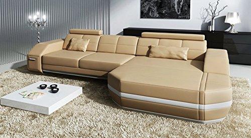 Sofa Couch Leder L-Form Ecksofa beige / weiß Designer Wohnlandschaft modern mit LED-Licht Beleuchtung FRANKFURT IV