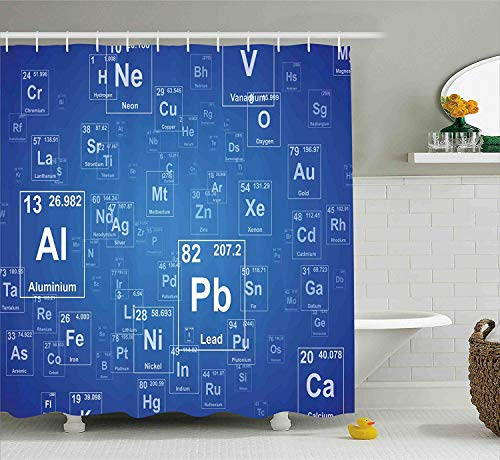 OuopBgbkkjn Wissenschaft Duschvorhang Chemie TV-Show inspirierte Bild mit Periodensystem Bild drucken Kunst Stoff Badezimmer Dekor Set mitblau und weiß - Duschvorhänge Wissenschaft