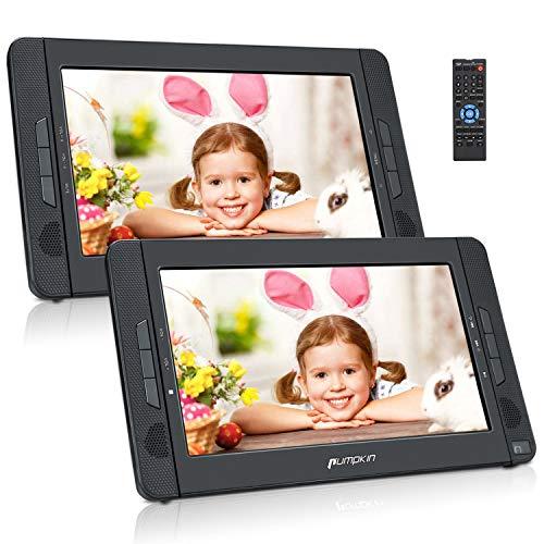 Pumpkin Lecteur DVD Portable Voiture 2 ecrans d'appuie-tête 10 Pouce Pour Enfants supporte USB SD MMC Autonomie de 5 Heures avec Sangle de Fixation dans Voiture (1 Lecteur et 1 Moniteur)
