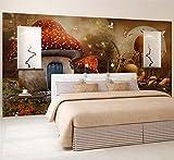 Mural wallpaper Custom 3D Wallpaper Cartoon Fairy Tale World Mushroom House Butterfly Flower Photo Background Children's Room,430cmX300cm