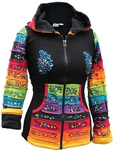 Shopoholic FASHION DAMEN Fleecefutter Hippy schwarz Rainbow Jacke - Schwarz, Medium