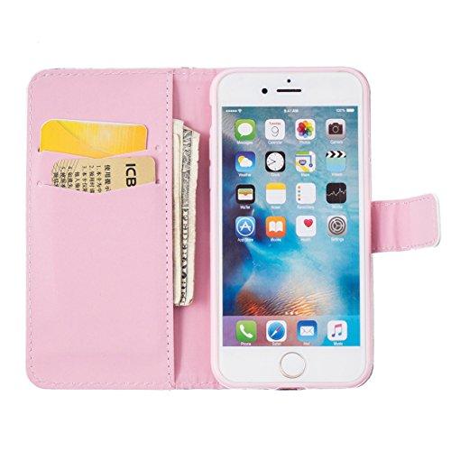 WYSTORE Étui pour Apple iPhone 7 PU Cuir Flip Folio Cover Case Housse avec Stand Support et Fente pour Carte et Arrière Coque de protection - Campanula plume Amour pissenlit