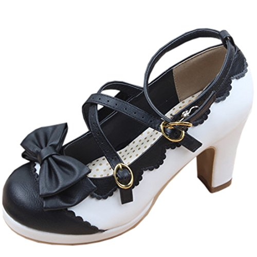 Partiss Damen Gothic Lolita High-top Casual Schuhen PU Pumps Herbst Fruehling Hochzeit Tanzenball Maskerade Cosplay Bowknots Kreuz Platform Pumps Lolita Shoes,38,Black&White