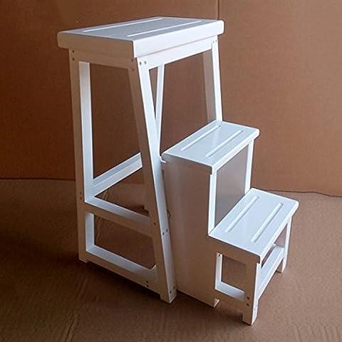 ZAIYI Die Alle Aus Massivholz Dick Drei Treppen Hocker Falten Dual-ladder Stühle Haushaltsleiter Holz,A