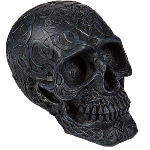 otenkopf Schädel SCHWARZ B Ornament Bemalt Verzierung Sugar Skull 48 ()