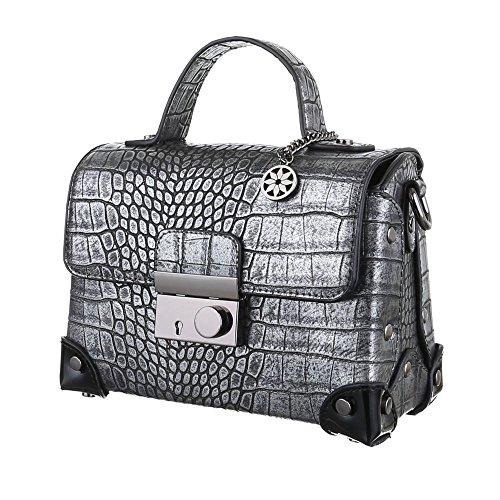 iTal-dEsiGn Damentasche Kleine Schultertasche Handtasche Koffertasche Kunstleder TA-4340-88 Grau Silber