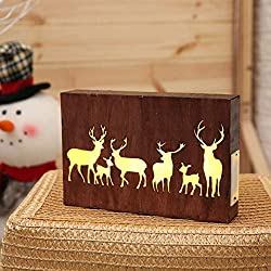 Sunshay Merry Christmas Night Light Gift Ornament 3D LED Moose Pattern Wooden Photo Frame Table Night Lamp Decorations for Home Bedroom Party Holiday