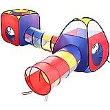 Play casa tienda de campaña túnel, eocusun Pop Up Kids Play tienda de campaña con túnel y bolas de interior y al aire libre fácil plegable, diseño de lunares, 3en 1Play House parque infantil con cremallera bolsa de almacenamiento, Multicolor