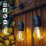 GogoTool 15m E27 Lichterkette mit led retro lampe, IP65 Wasserdicht für Außen/Innen, Dekolampe für Haus Dekoration, Weihnachten(15 E27 Steckdosen, 15+2 Ersatzlampen)