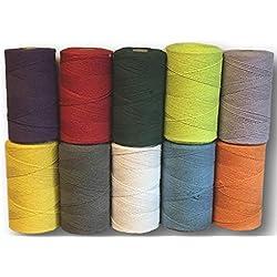 Everlasto - Bobina de Hilo de algodón Suave para Manualidades de macramé (1 kg, 2 mm Aprox.), Color Verde