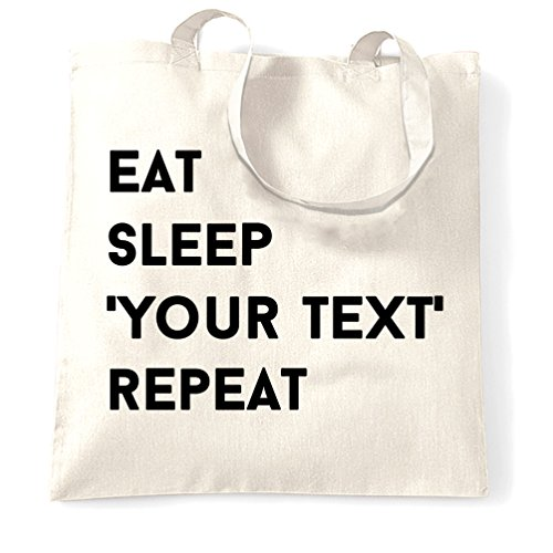 Mangiare Dormire Il Tuo Testo Qui Ripeti Personalizzabile Hobby Personalizzato Tote Bag Bianco