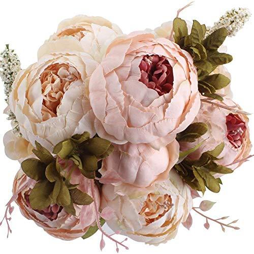 Justuyou Künstliche Pfingstrose, künstliche Plastikblumen, Hochzeitssträuße, Dekoration für Zuhause, Küche, Büro, Garten, drinnen und draußen, Hochzeitsdekoration hellrosa