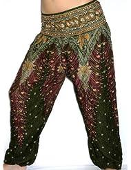 Sarouel Mujer Pantalón étnica Aladin harén Pant Aladdin Holgado Baggy Yoga verde Green