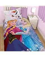 Disney Frozen Reversible Elsa Anna and Olaf Cotton Mix Single Bed Set- Duvet cover and Pillow Case