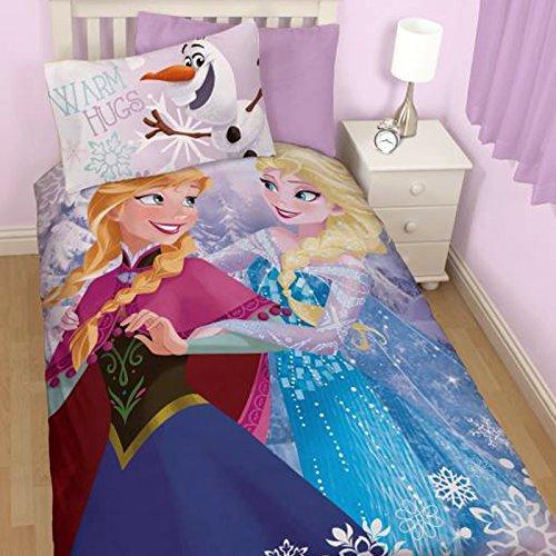 Disney Frozen Elsa, Anna y Olaf - Set funda nórdica y funda de almohada reversible de algodón