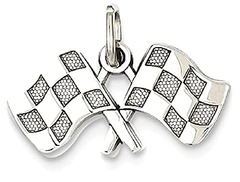 IceCarats 14k White Gold Checkered Flags Pendant Charm Necklace Sport Racing