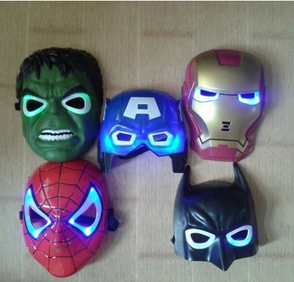 5pcs/lot New the Hulk Captain America Batman Spiderman Ironman LED Glowing Party Mask Birthday Halloween Boy Gift