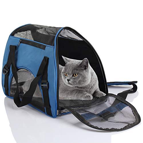 D4P Display4top Transporttasche für Katzen Hunde Comfort Fluggesellschaft zugelassen Travel Tote Weiche Seiten Tasche für Haustiere,46cm x 25cm x 28cm (Blau)