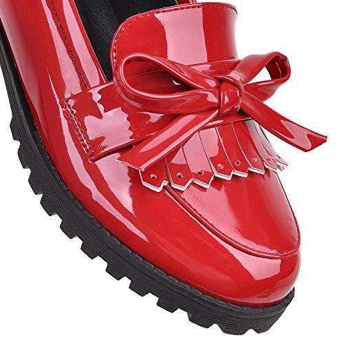 VogueZone009 Femme Pu Cuir à Talon Bas Rond Couleur Unie Tire Chaussures Légeres Rouge