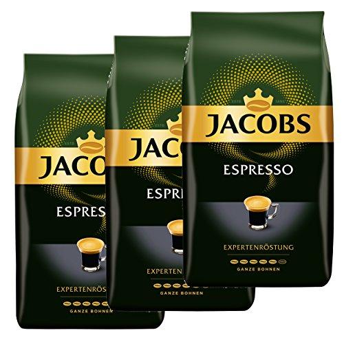 Jacobs Espresso Experten consiglio, caffè, chicchi interi, caffè arrostito, chicchi di caffè, confezione da 1 (1 X 1000 g): varietà di caffè selezionate da diverse lanterne vengono combinate armoniosamente per questo intenso espresso con note importa...