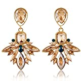 Hosaire 1 Paar Damen Mädchen Ohrringe Tropfen Wasser Kristall Glitzer Ohrstecker Geschenk(Golden Farbe)