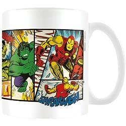 Marvel MG23441 8 x 11,5 x 9,5 cm Retro de héroes de Paneles Taza de cerámica, Multi-Color