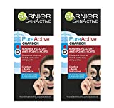 Garnier Skin Active - Pure Active Charbon Masque Peel-Off Anti-Points Noirs 50 ml - Lot de 2
