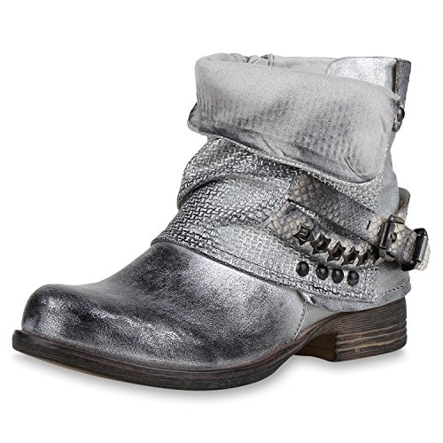 SCARPE VITA Gefütterte Damen Biker Boots Nieten Schnallen Stiefeletten 164230 Silber Nieten 39