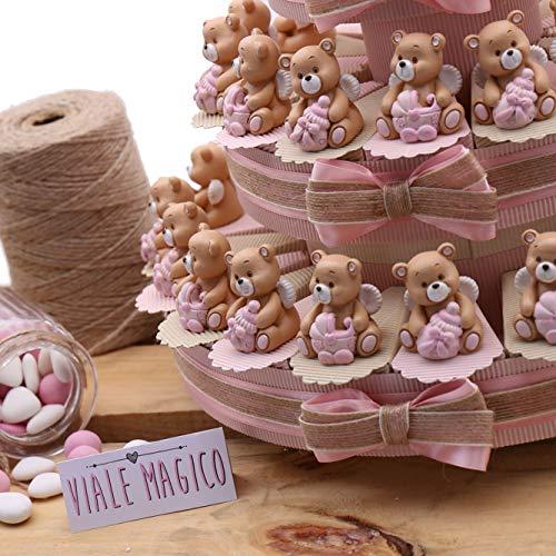 Vialemagico torta bomboniera battesimo confettata orsetto con ali bimba statuina 60 fettine