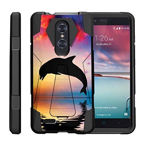 turtlearmor | kompatibel für ZTE Zmax Pro Case | ZTE Blade X MAX Case [Dynamischer Shell] Hybrid Duo Cover Impact absorbierenden Schock Silikon Schicht Ständer Hard Shell Animal Design -, Dolphin Jump (Boost Mobile Phone Cases Zte Max)
