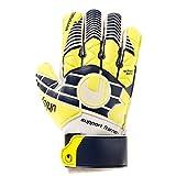 uhlsport Herren Eliminator Soft SF Plus Junior Torwart-Handschuhe, Marine/Fluo Gelb/Weiß, 4.0