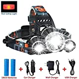 Gearari Super Bright 4 Modes LED Head Torch, Rechargeable Waterproof Focus Headlight, 3