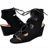 Mylu Womens Toe Cutout Shoe Lace Eyelets Ankle Open Wedge Sandal Black
