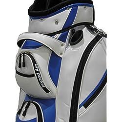Bolsa de golf impermeable, color blanco y azul